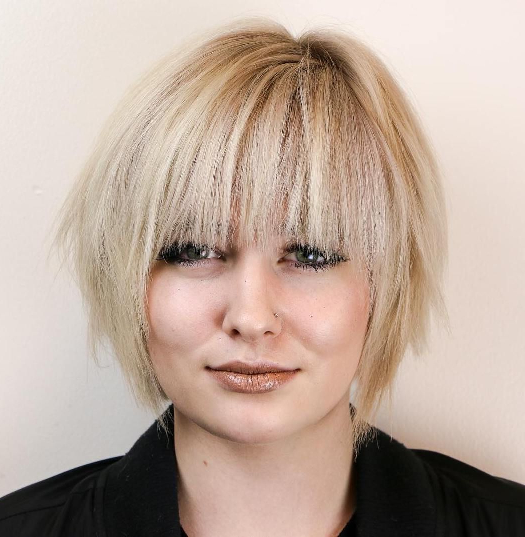 50 Super Cute Looks With Short Hairstyles For Round Faces In Inside Short Chopped Bob Hairstyles With Straight Bangs (View 5 of 20)