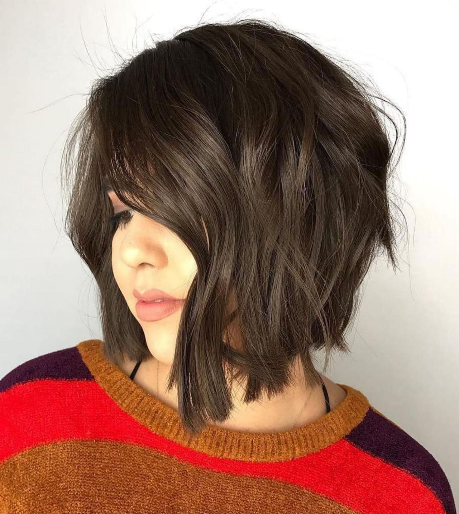 50 Super Cute Looks With Short Hairstyles For Round Faces In Pertaining To Purple Tinted Off Centered Bob Hairstyles (View 16 of 20)