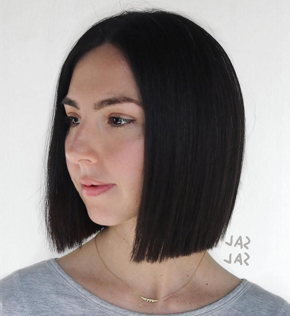 50 Super Cute Looks With Short Hairstyles For Round Faces With Sleek Blunt Brunette Bob Hairstyles (View 3 of 20)