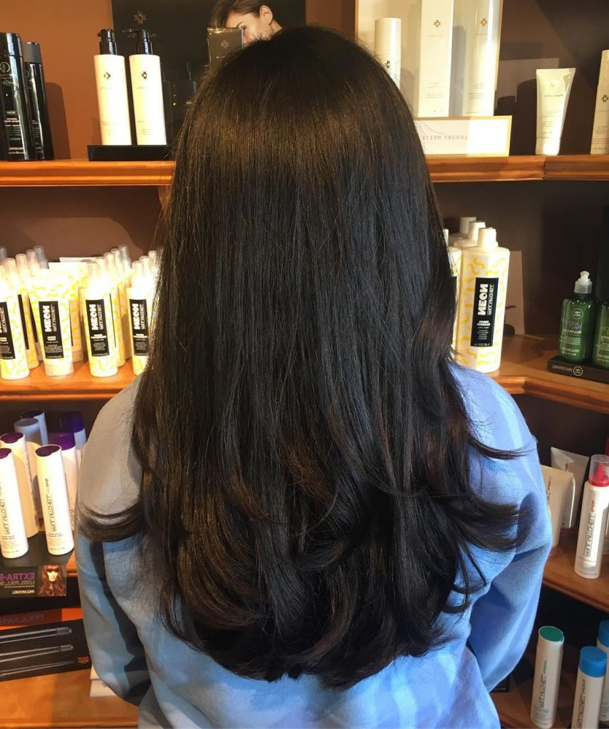 53 Gorgeous Long Layered Hairstyles – Prochronism Inside Latest Shiny Black Haircuts With Flicked Layers (View 8 of 20)