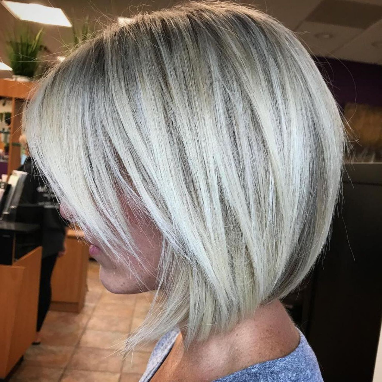 60 Beautiful And Convenient Medium Bob Hairstyles In 2019 With Regard To Well Known Razored Gray Bob Hairstyles With Bangs (View 5 of 20)