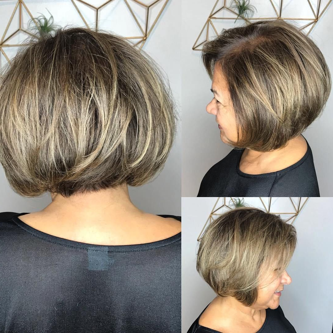60 Best Hairstyles And Haircuts For Women Over 60 To Suit Within 2018 Side Parted Layered Bob Haircuts (View 11 of 20)