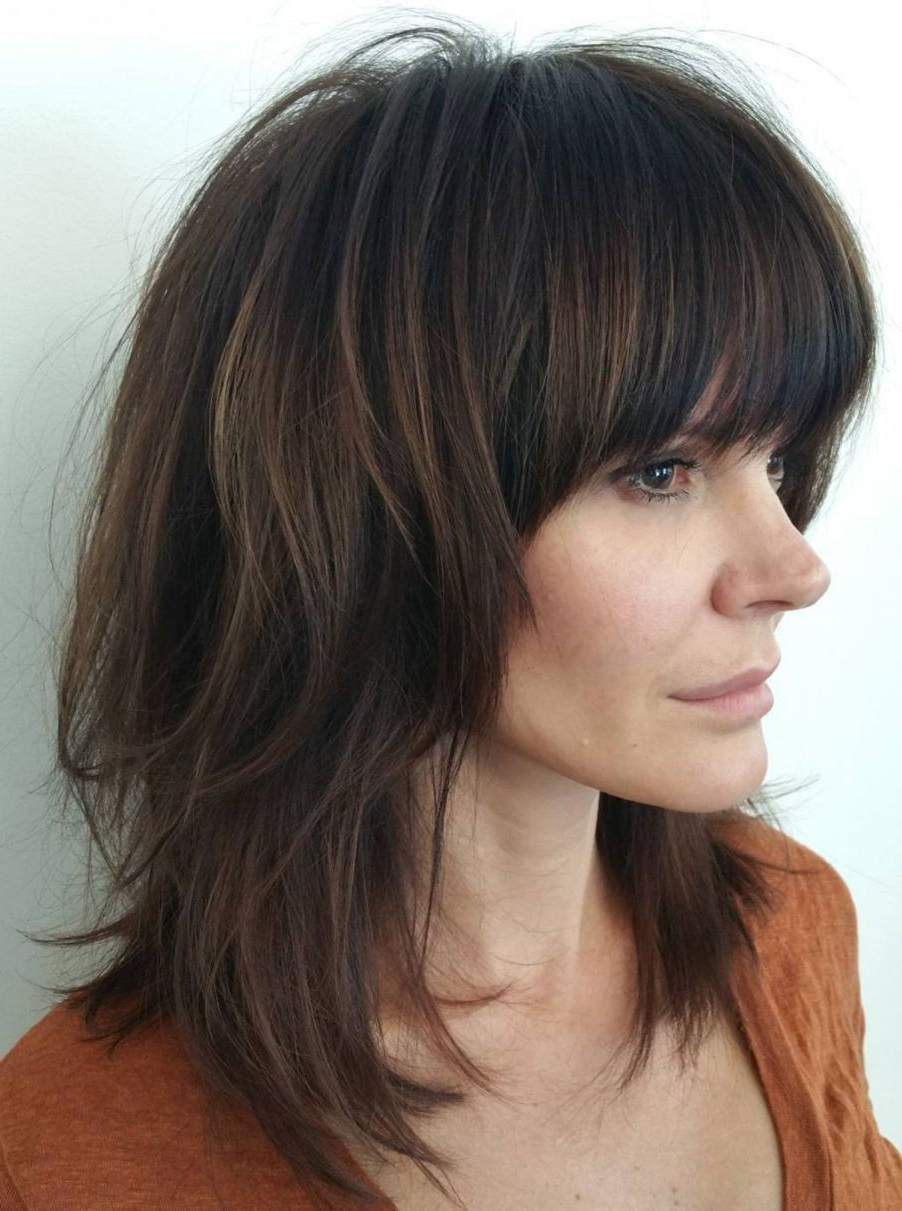 60 Best Variations Of A Medium Shag Haircut For Your Inside Famous Medium Length Haircuts With Full Bangs (View 7 of 20)