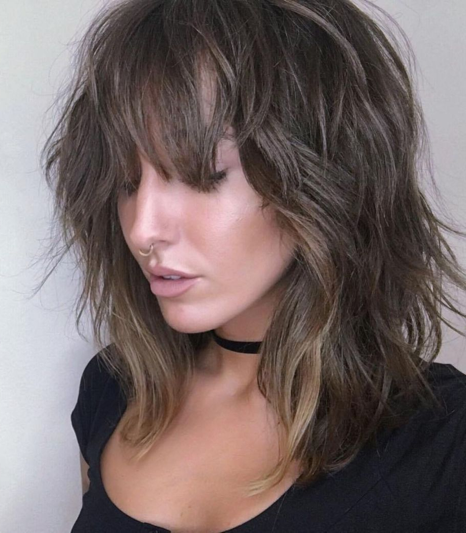 60 Best Variations Of A Medium Shag Haircut For Your Regarding Latest Brunette Razor Haircuts With Bangs (View 5 of 20)