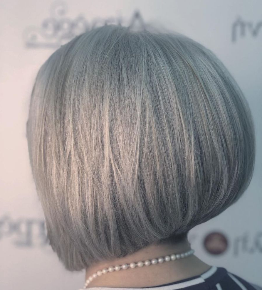 60 Gorgeous Gray Hair Styles In 2019 | Grey Hair, Short Hair Pertaining To Short Sliced Inverted Bob Hairstyles (View 5 of 20)