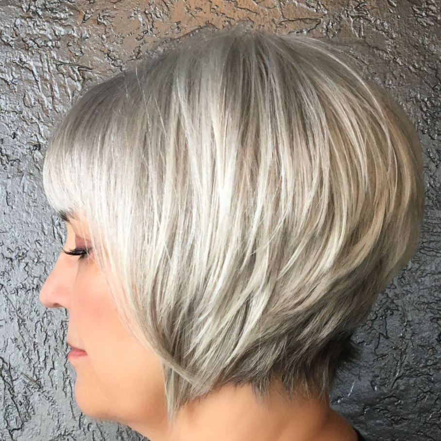 60 Gorgeous Gray Hair Styles In 2019 | Short Grey Hair Regarding Razored Honey Blonde Bob Hairstyles (View 14 of 20)