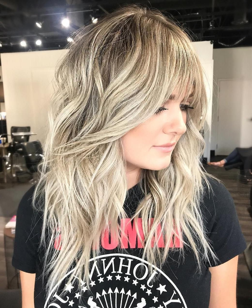 Featured Photo of Mid Length Light Blonde Shag Haircuts With Bangs