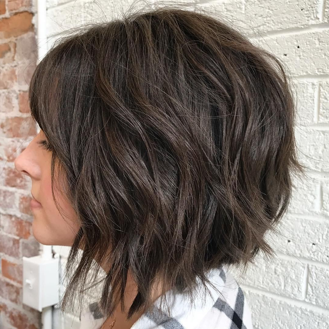 60 Most Magnetizing Hairstyles For Thick Wavy Hair In 2019 Regarding Disconnected Shaggy Brunette Bob Hairstyles (Gallery 2 of 20)