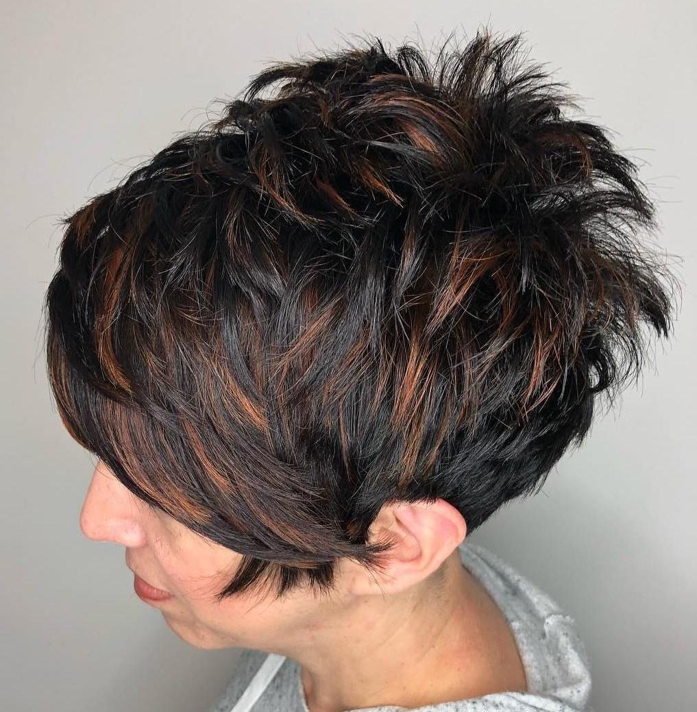 Featured Photo of Dark Pixie Hairstyles With Cinnamon Streaks