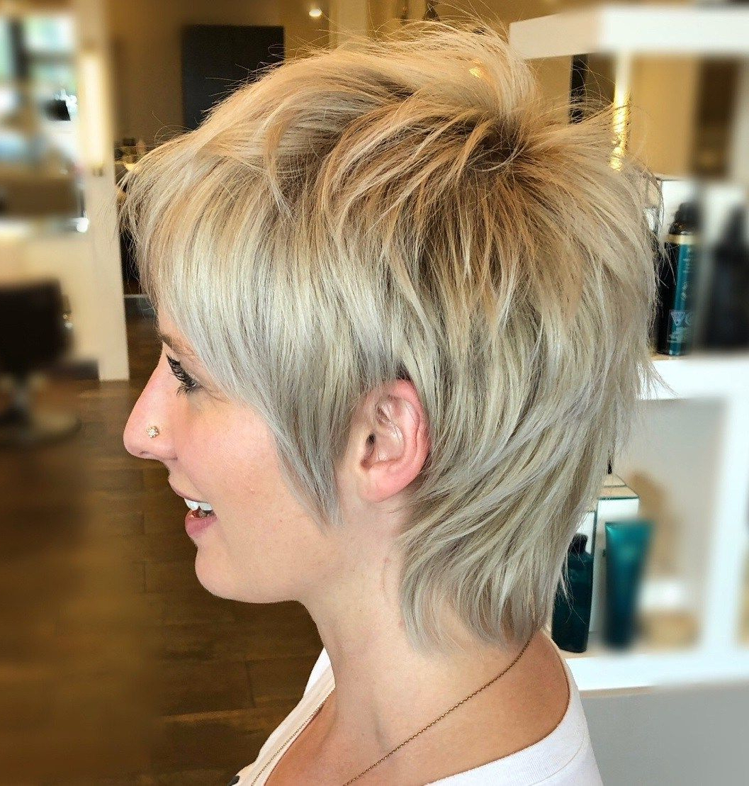 60 Short Shag Hairstyles That You Simply Can't Miss In 2019 Intended For Sophisticated Wavy Ash Blonde Pixie Bob Hairstyles (View 15 of 20)