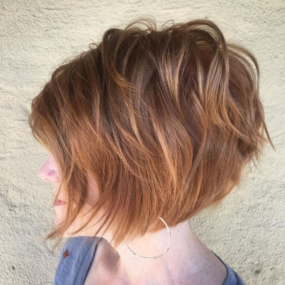 60 Short Shag Hairstyles That You Simply Can't Miss In 2019 With Regard To Inverted Caramel Bob Hairstyles With Wavy Layers (View 16 of 20)