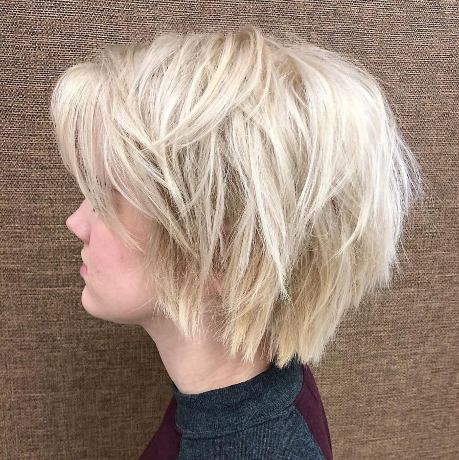 60 Short Shag Hairstyles That You Simply Can't Miss In 2019 With Regard To Shaggy Blonde Bob Hairstyles With Bangs (View 10 of 20)
