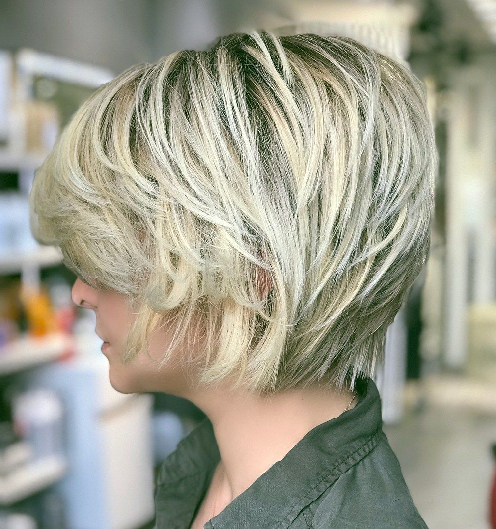 60 Short Shag Hairstyles That You Simply Can't Miss In 2019 With Regard To Short Sliced Metallic Blonde Bob Hairstyles (Gallery 1 of 20)