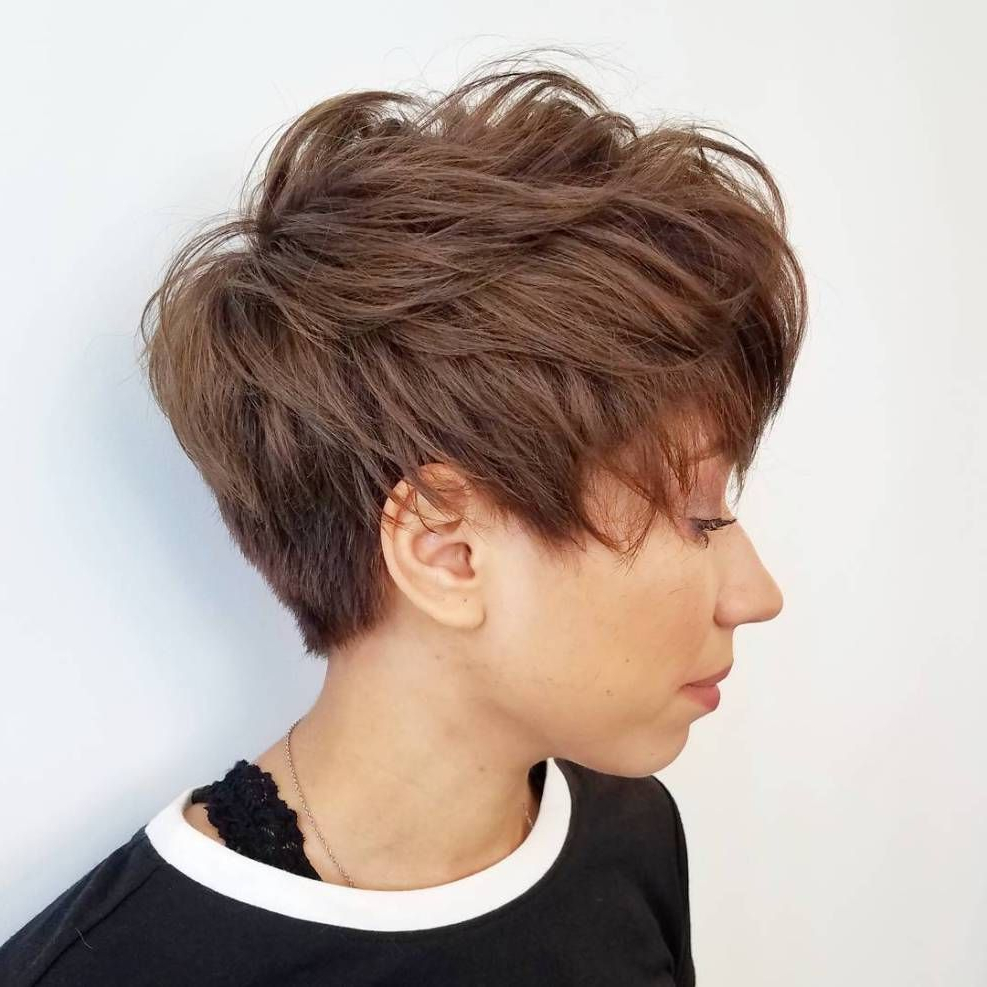 60 Short Shag Hairstyles That You Simply Can't Miss In 2019 With Tapered Pixie Boyish Haircuts For Round Faces (Gallery 2 of 20)