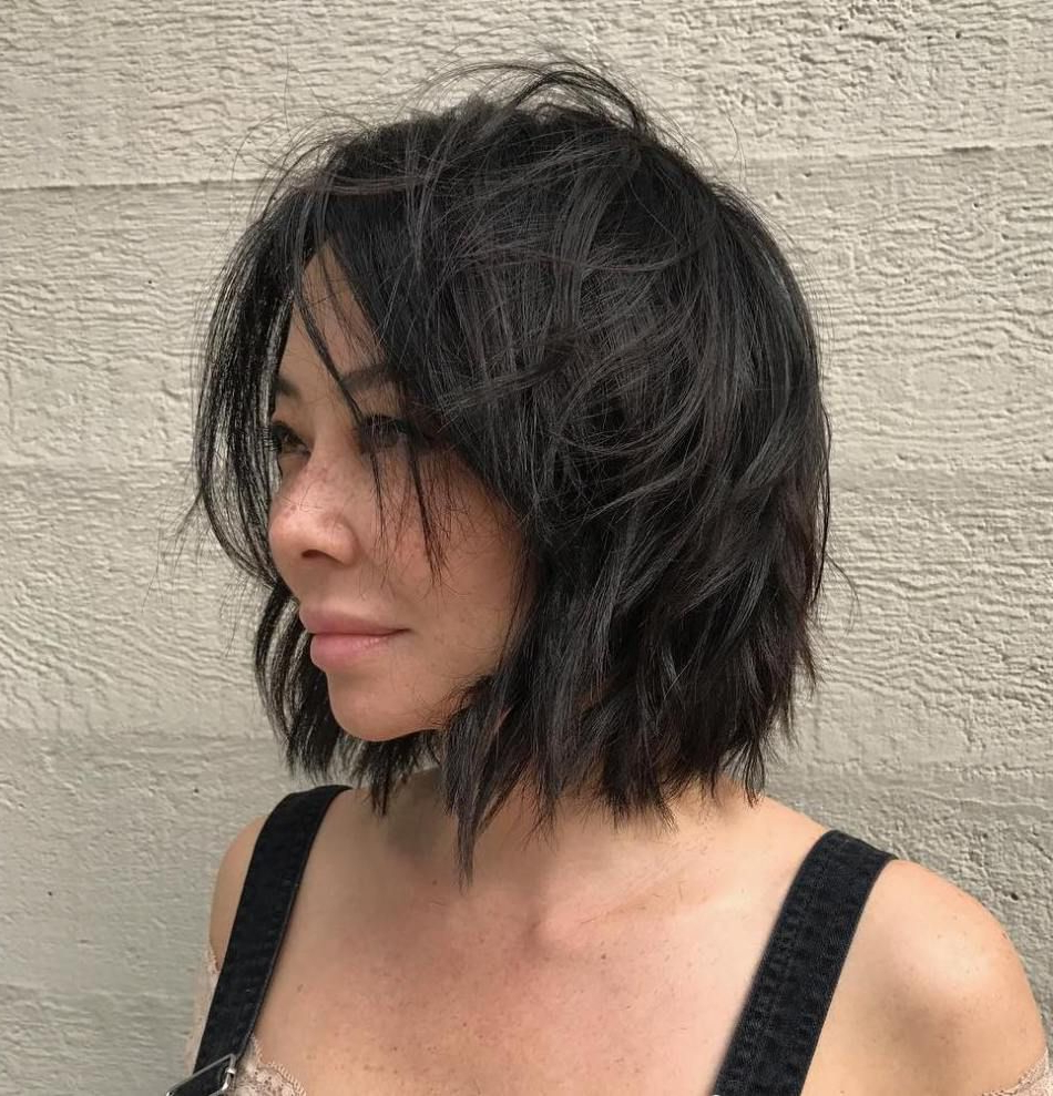 60 Short Shag Hairstyles That You Simply Can't Miss Inside Jaw Length Shaggy Walnut Brown Bob Hairstyles (View 2 of 20)
