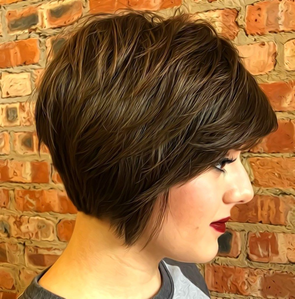 Featured Photo of Jaw Length Shaggy Walnut Brown Bob Hairstyles