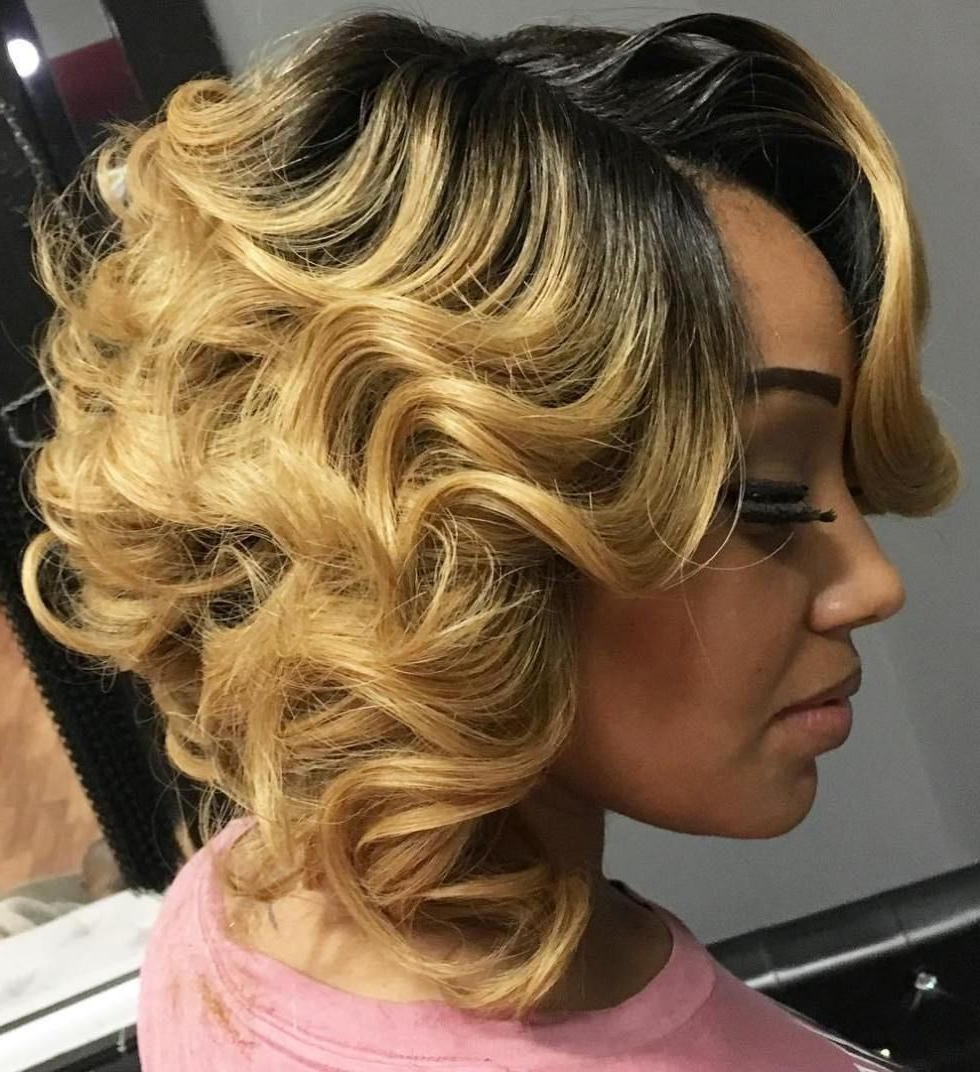 60 Showiest Bob Haircuts For Black Women In 2019 | Blonde Regarding Romantic Blonde Wavy Bob Hairstyles (View 14 of 20)