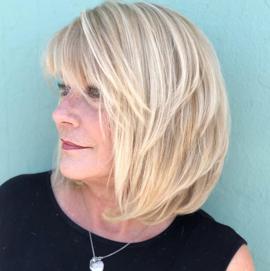 60 Trendiest Hairstyles And Haircuts For Women Over 50 In 2019 In Well Liked Shoulder Grazing Flared Blonde Shag Haircuts (View 3 of 20)