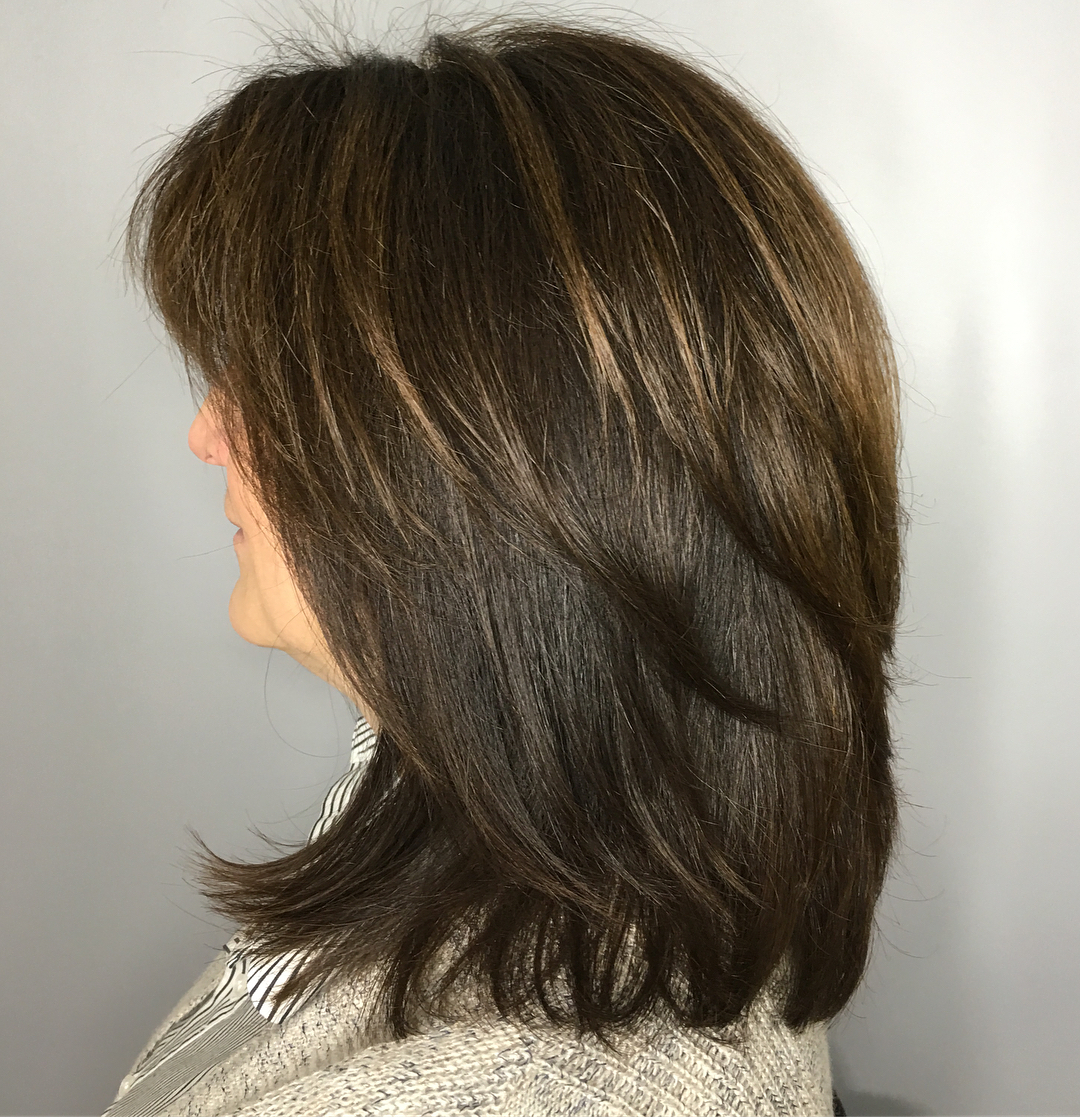 60 Trendiest Hairstyles And Haircuts For Women Over 50 In 2019 Inside Current Mid Length Feathered Shag Haircuts For Thick Hair (View 18 of 20)