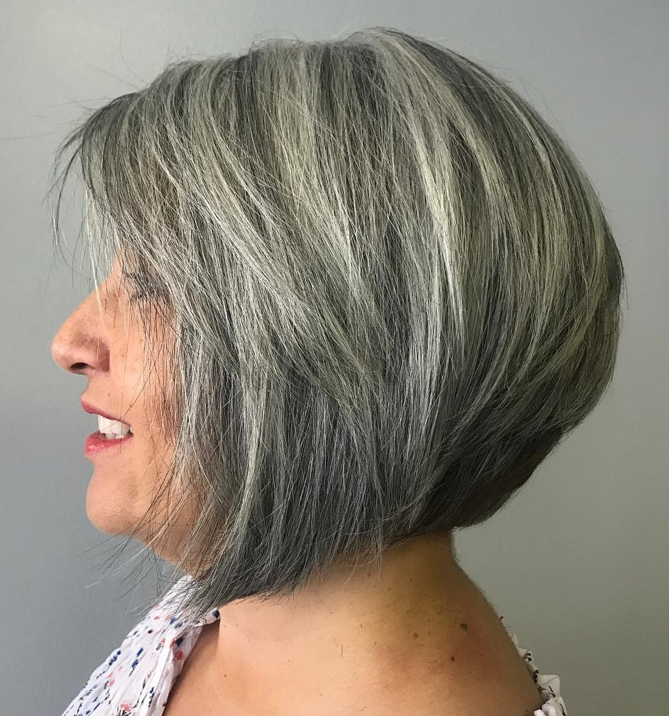 60 Trendiest Hairstyles And Haircuts For Women Over 50 In 2019 Intended For 2017 Razored Gray Bob Hairstyles With Bangs (View 4 of 20)