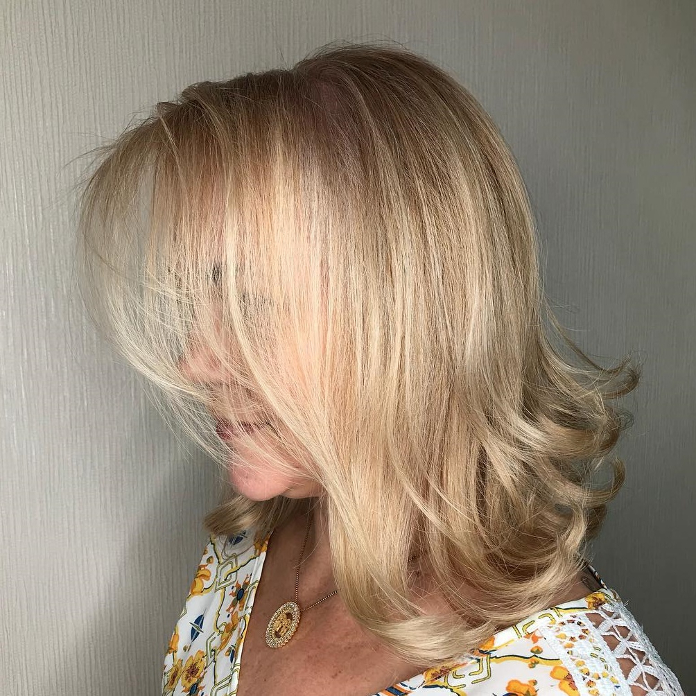 60 Trendiest Hairstyles And Haircuts For Women Over 50 In 2019 With Regard To Latest Shoulder Grazing Flared Blonde Shag Haircuts (View 12 of 20)