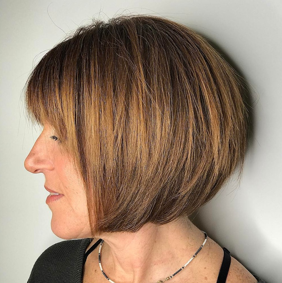 60 Trendiest Hairstyles And Haircuts For Women Over 50 In 2019 Within Razored Honey Blonde Bob Hairstyles (Gallery 11 of 20)