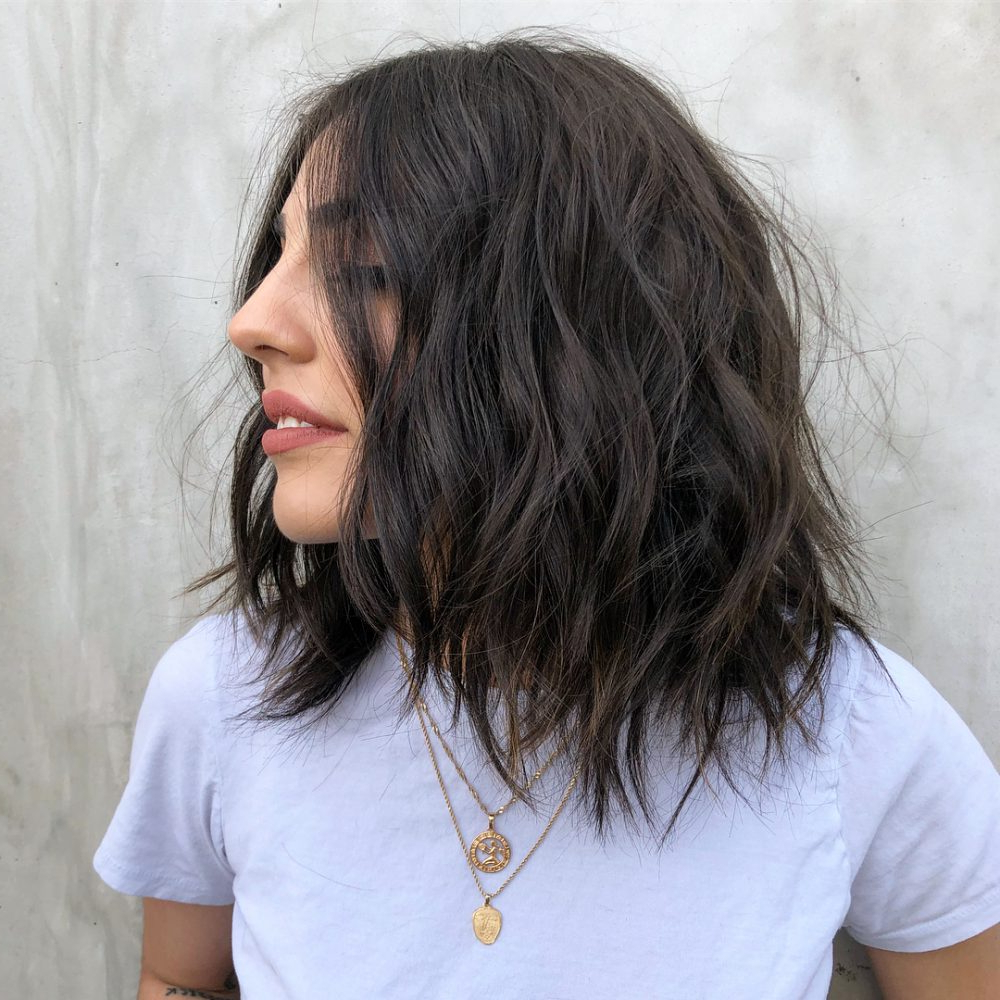 61 Chic Medium Shag Haircuts For 2019 Throughout Tapered Shaggy Chocolate Brown Bob Hairstyles (Gallery 20 of 20)