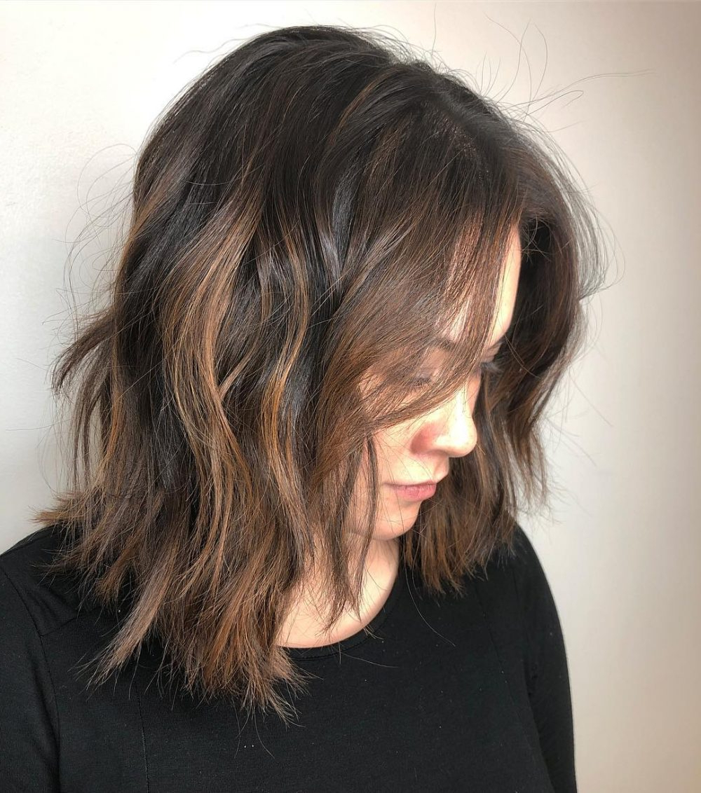 61 Chic Medium Shag Haircuts For 2019 With Trendy Brunette Layers Shag Haircuts With Centre Part (View 12 of 20)