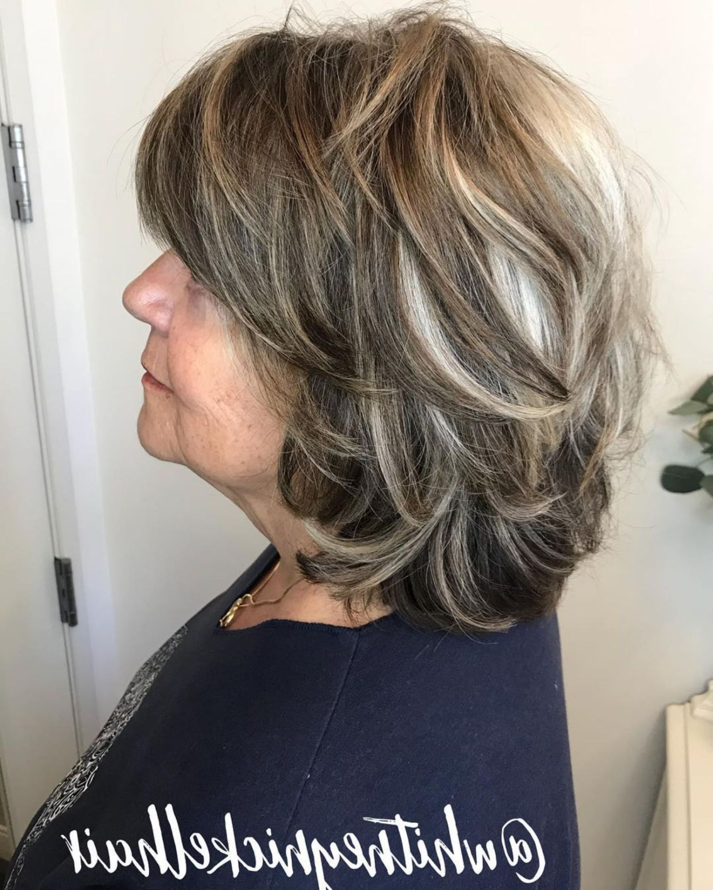 80 Best Modern Hairstyles And Haircuts For Women Over 50 In With Piece Y Golden Bob Hairstyles With Silver Highlights (View 3 of 20)
