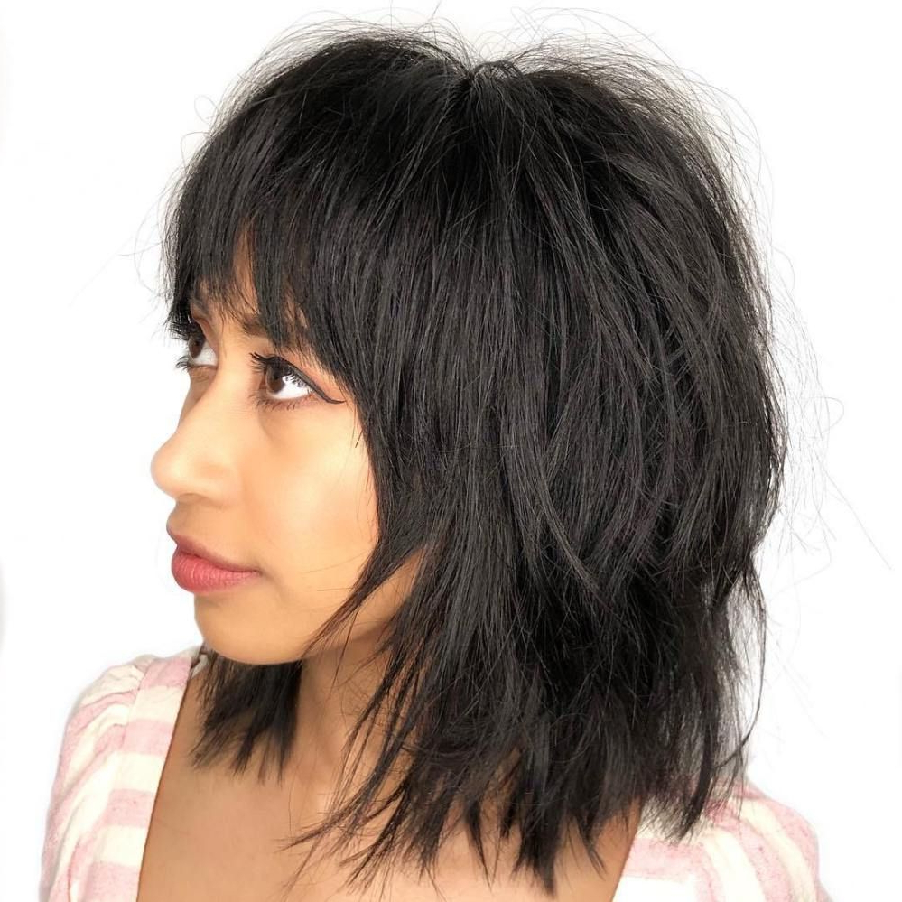 80 Sensational Medium Length Haircuts For Thick Hair In 2019 Inside Razored Shaggy Bob Hairstyles With Bangs (View 12 of 20)