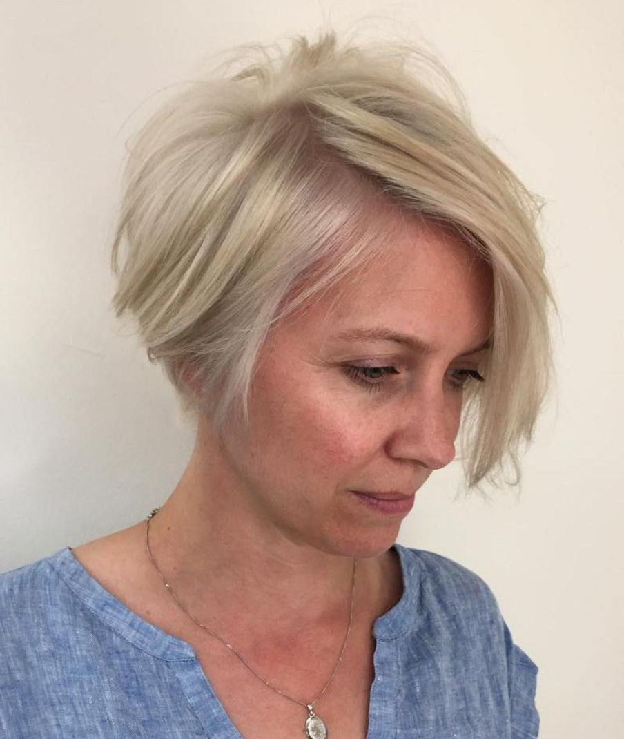 90 Classy And Simple Short Hairstyles For Women Over 50 Throughout Sophisticated Wavy Ash Blonde Pixie Bob Hairstyles (View 19 of 20)