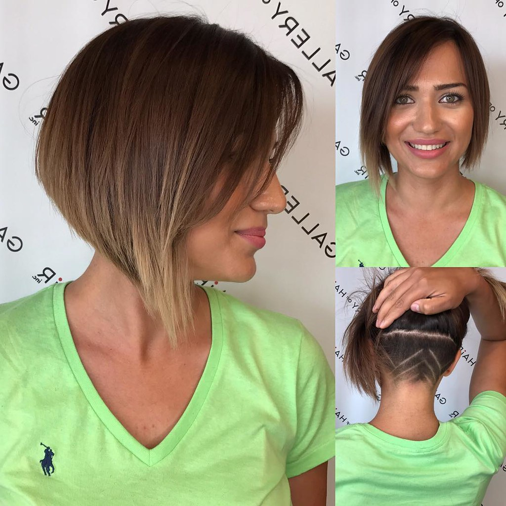Asymmetric Inverted Bob With Side Swept Bangs And Undercut Inside Asymmetrical Side Sweep Hairstyles (View 11 of 20)