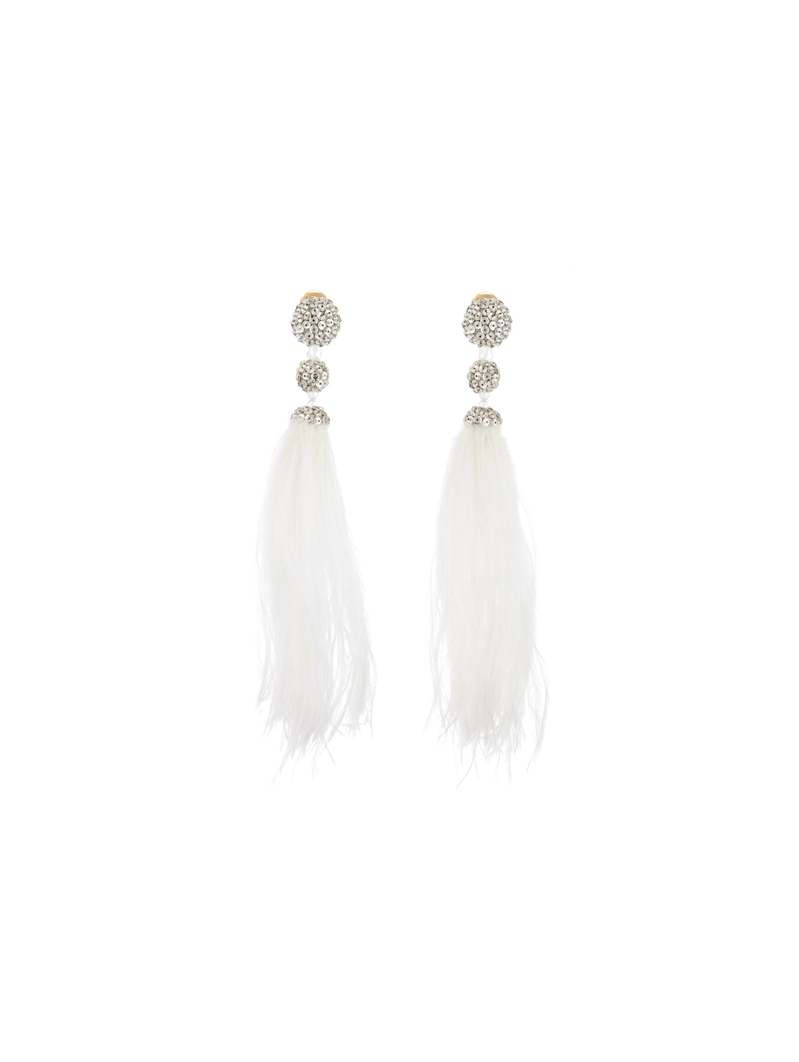 Beaded Feather Earrings Throughout Preferred Silver White Wispy Hairstyles (View 7 of 20)