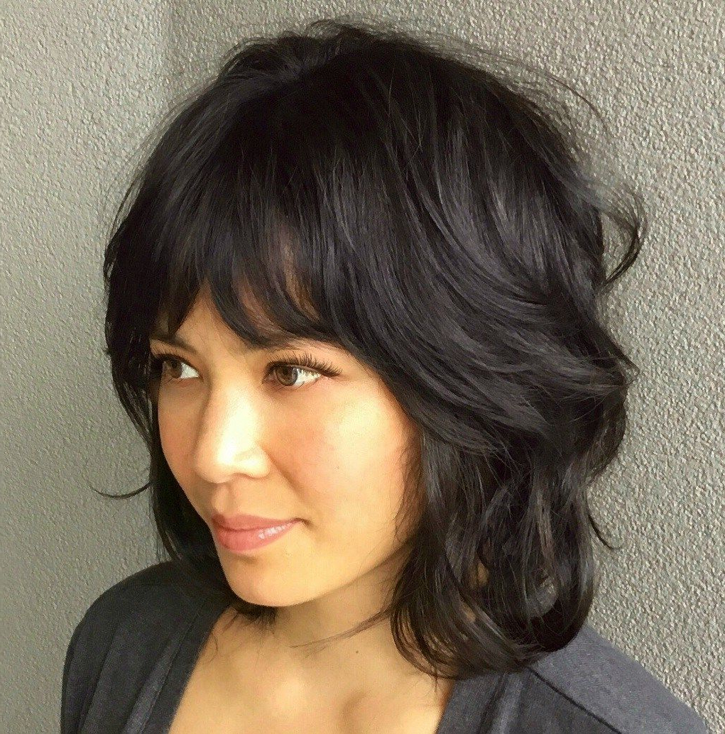 Best And Newest Feathered Black Shag Haircuts With Side Bangs Inside 60 Best Variations Of A Medium Shag Haircut For Your (View 6 of 20)