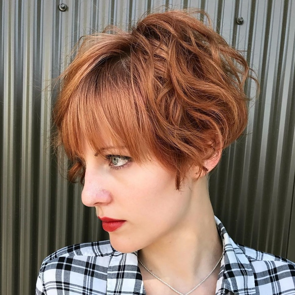 Best Short Wavy Hair With Bangs Ideas For 2019 Pertaining To Curly Messy Bob Hairstyles With Side Bangs (View 9 of 20)