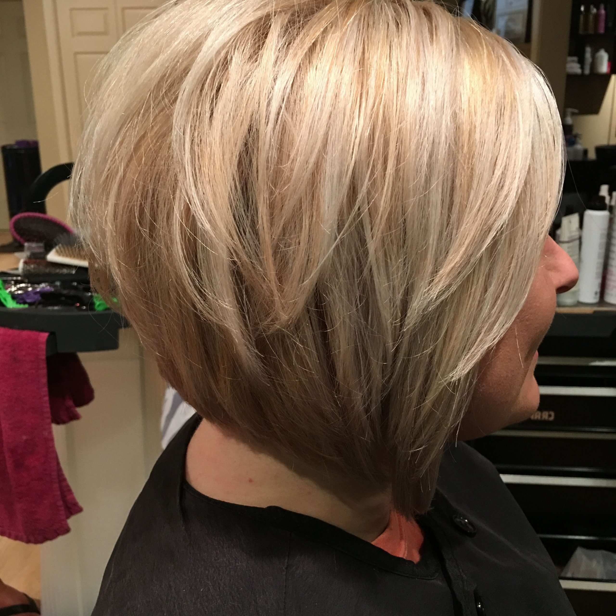 Blonde Graduated Bob In 2019 | Inverted Bob Hairstyles With Regard To Asymmetrical Shaggy Bob Hairstyles (View 13 of 20)