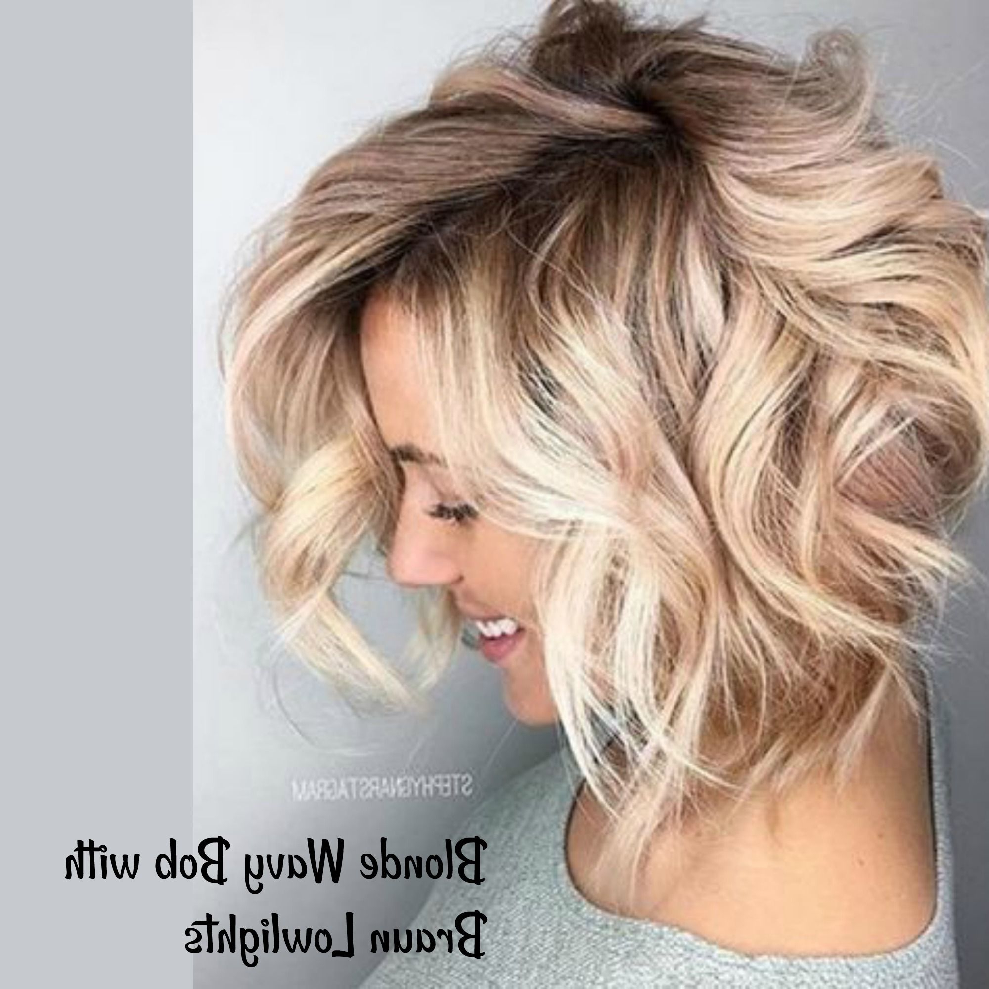 Blonde Wavy Bob With Braun Lowlights In 2019 | Short Wavy In Romantic Blonde Wavy Bob Hairstyles (View 2 of 20)