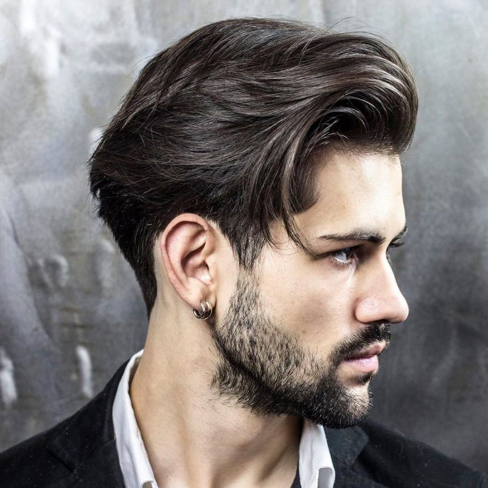Brushed Back With Thick Hair + Taper Cut 1 | Manscape Throughout Brushed Back Hairstyles For Round Face Types (View 3 of 20)