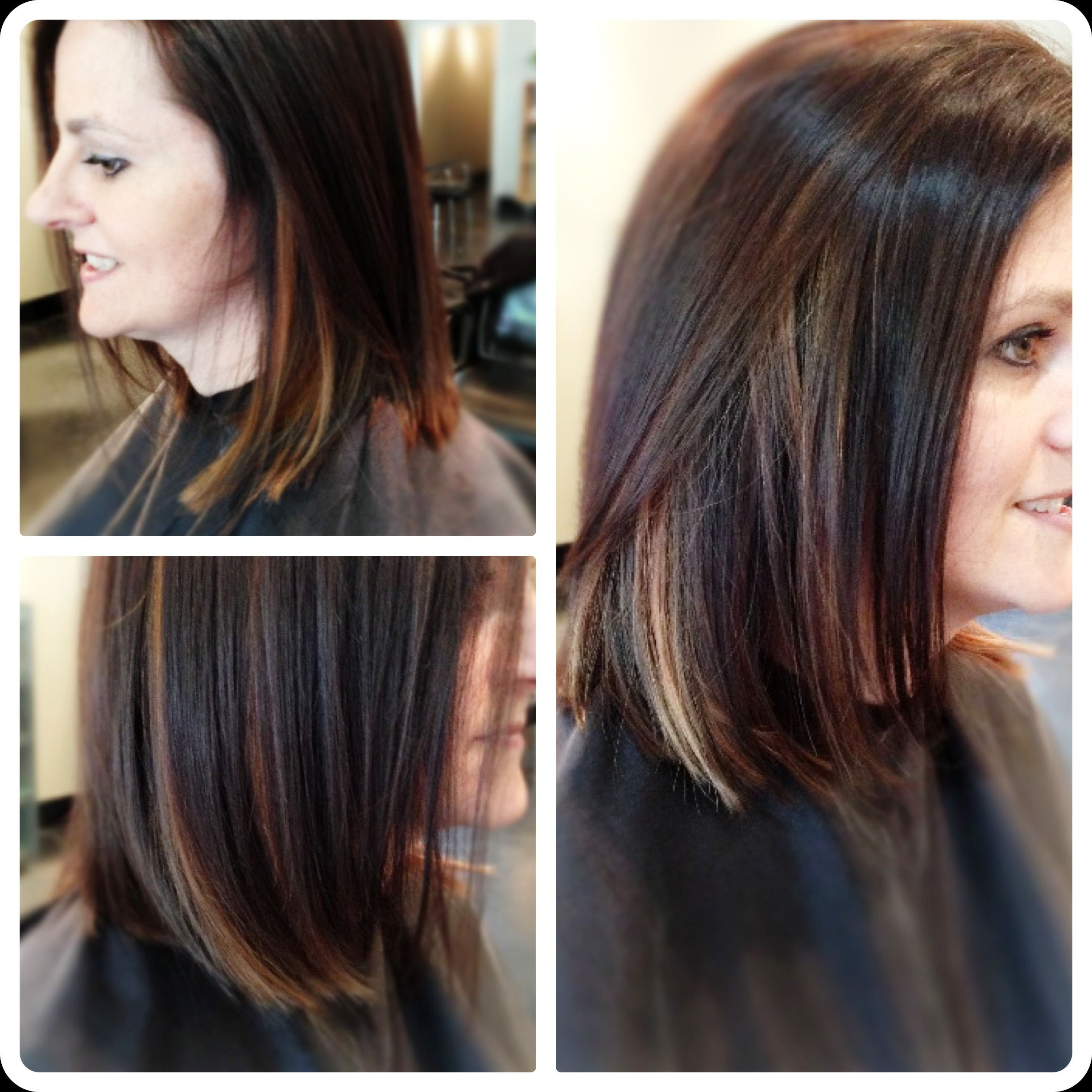 Chocolate Brown Bob Haircut With Contrasting Blond Peekaboo In Bob Hairstyles With Contrasting Highlights (View 4 of 20)