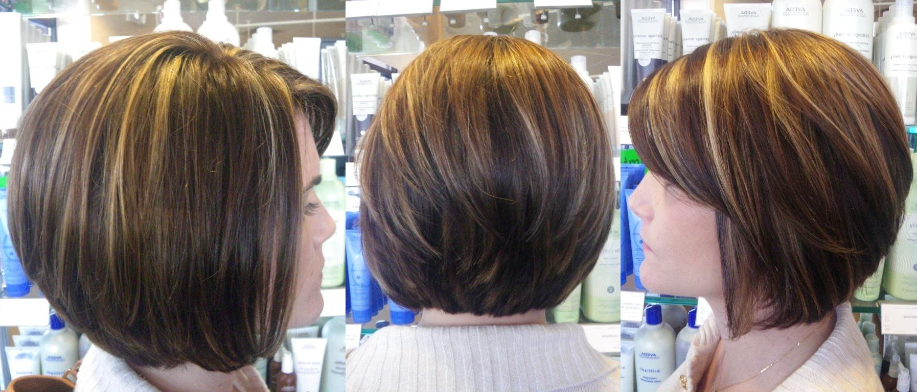 Contrasting Rich Brown With Multi Tonal Highlights Love Throughout Bob Hairstyles With Contrasting Highlights (View 3 of 20)