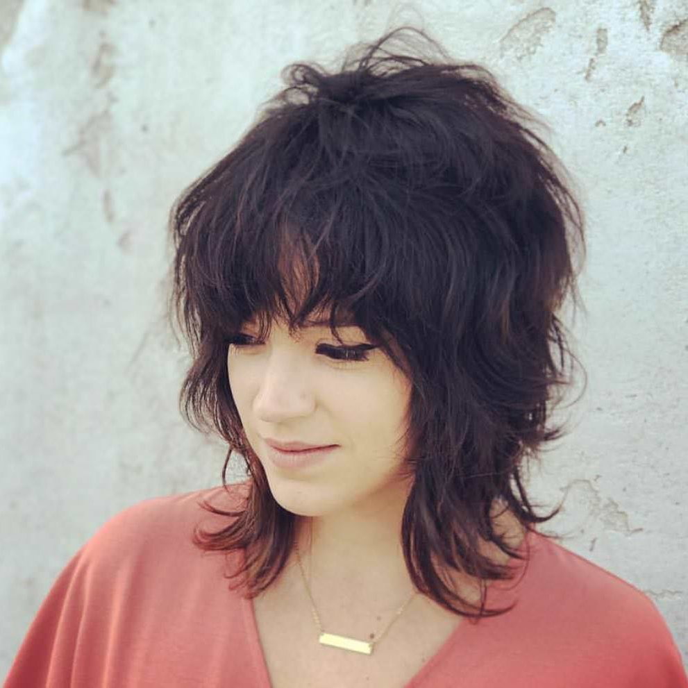 Current Feathered Black Shag Haircuts With Side Bangs Regarding 125 Coolest Shag Haircuts For All Ages – Prochronism (View 7 of 20)