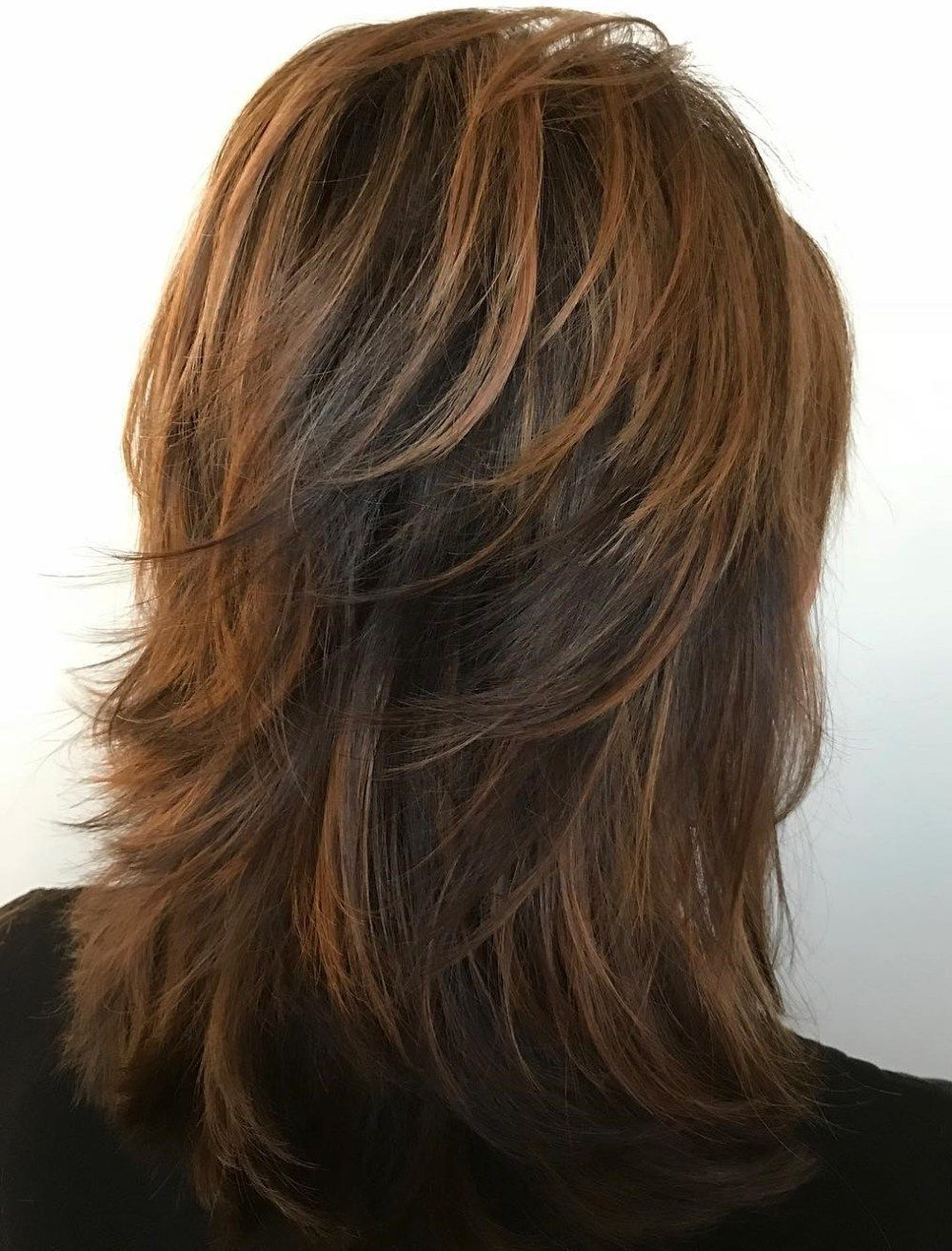 Current Mid Length Feathered Shag Haircuts For Thick Hair Throughout Pin On Hair Cuts / Styles (View 5 of 20)