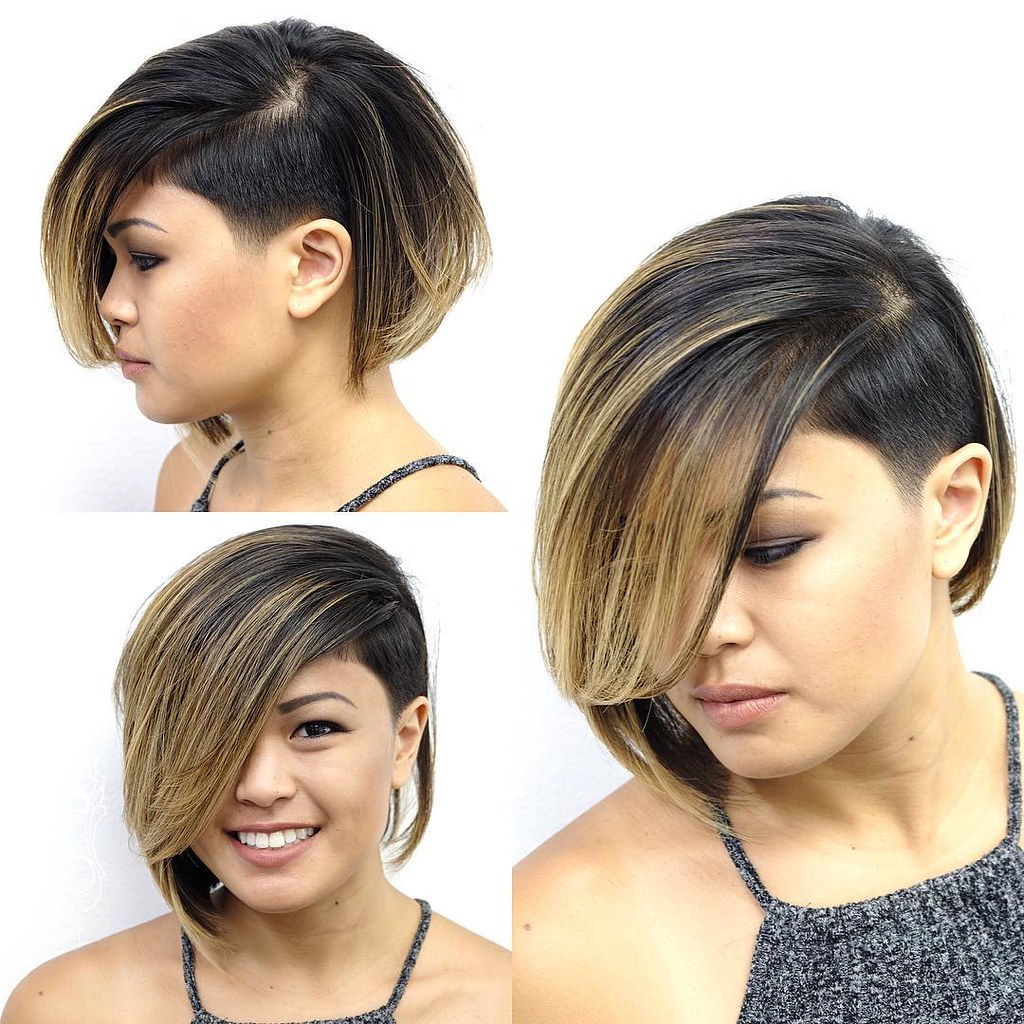Eccentric Asymmetrical Undercut Bob With Side Swept Bangs Within Asymmetrical Side Sweep Hairstyles (View 6 of 20)