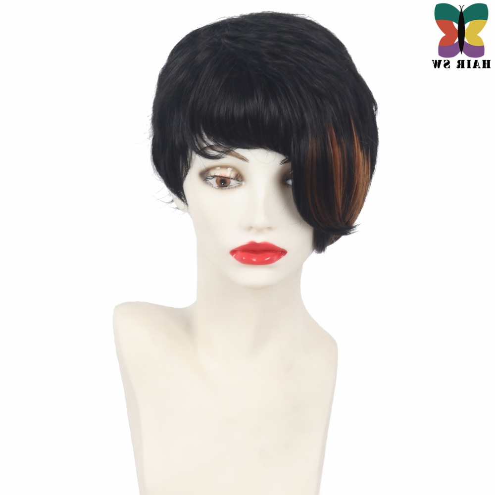 Famous Black Angled Bob Hairstyles With Shaggy Layers With Regard To Hair Sw Short Curly Choppy Pixie Cuts Synthetic Wig With (View 10 of 20)