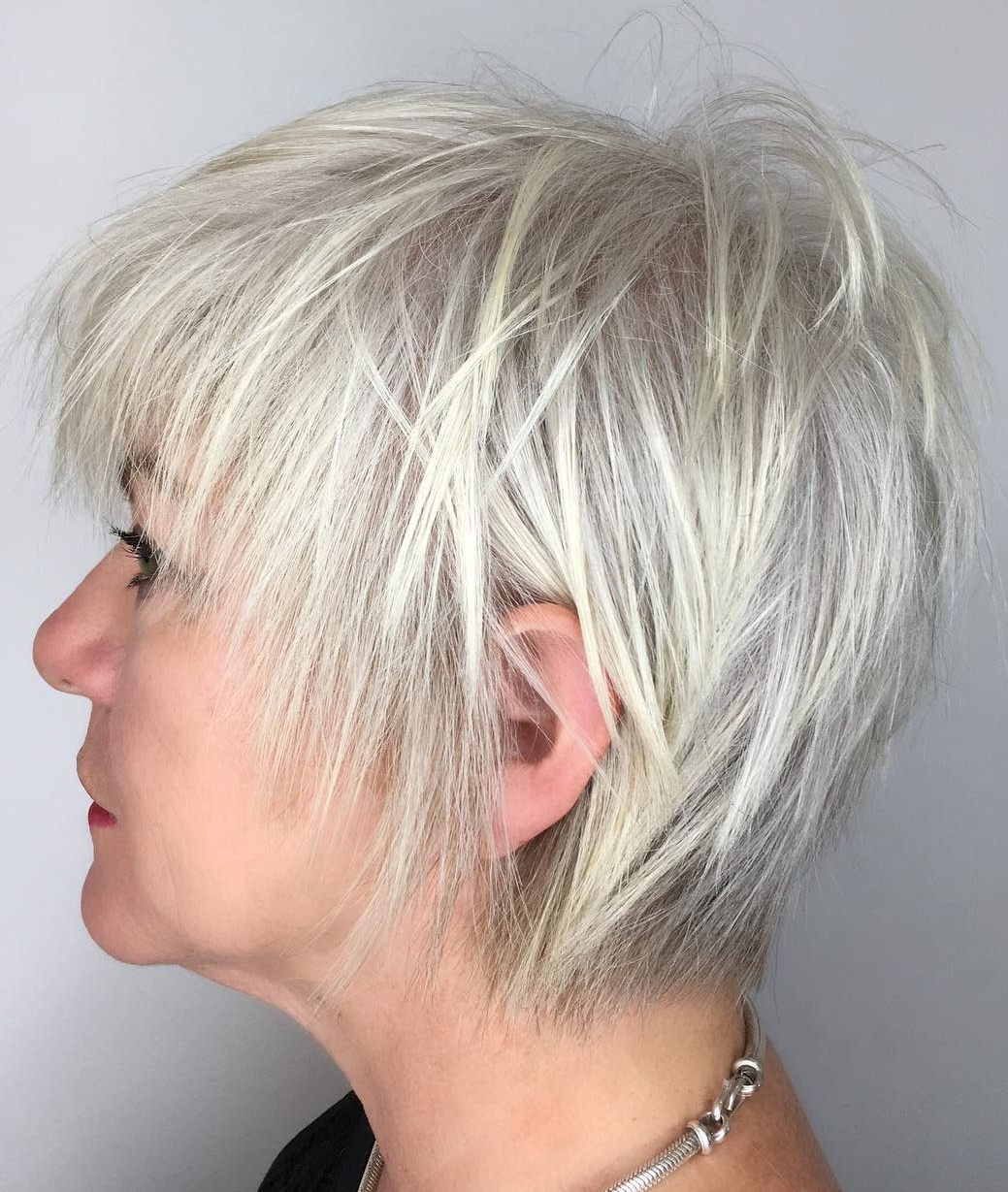 Famous Sliced Platinum Blonde Bob Hairstyles Pertaining To 60 Trendiest Hairstyles And Haircuts For Women Over 50 In 2019 (Gallery 10 of 20)
