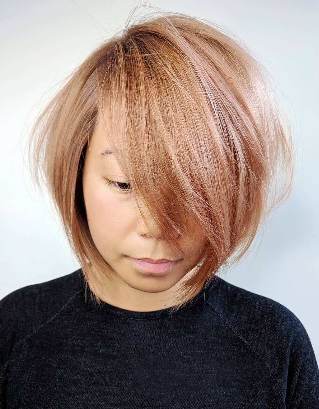 Famous Strawberry Blonde Bob Hairstyles With Flipped Ends Inside The Most Instagrammable Hairstyles With Bangs In (View 6 of 20)