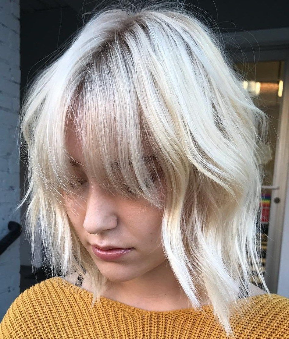 Famous Wispy Layered Blonde Haircuts With Bangs With Regard To 60 Beautiful And Convenient Medium Bob Hairstyles In (View 2 of 20)