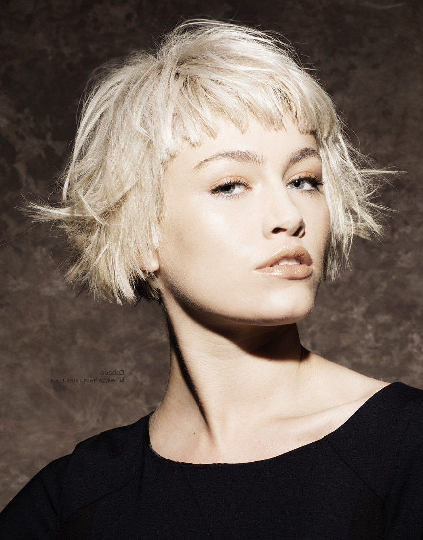 Fashionable Razored Blonde Bob Haircuts With Bangs For Razored, Piecy, Disconnected, Platinum Blonde Hair (View 2 of 20)