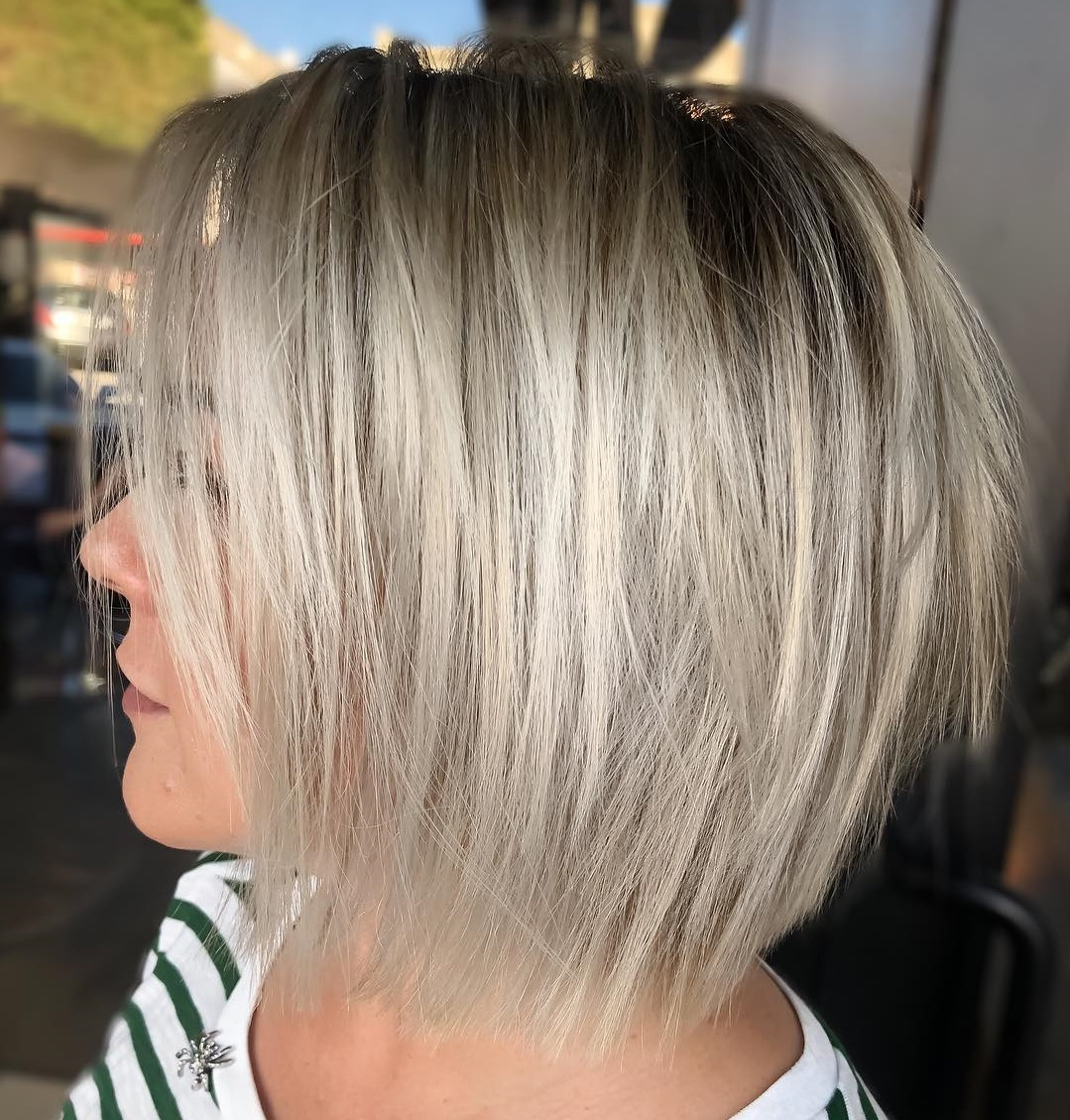 Fashionable Razored Gray Bob Hairstyles With Bangs Within 40 Awesome Ideas For Layered Bob Hairstyles You Can't Miss (Gallery 11 of 20)