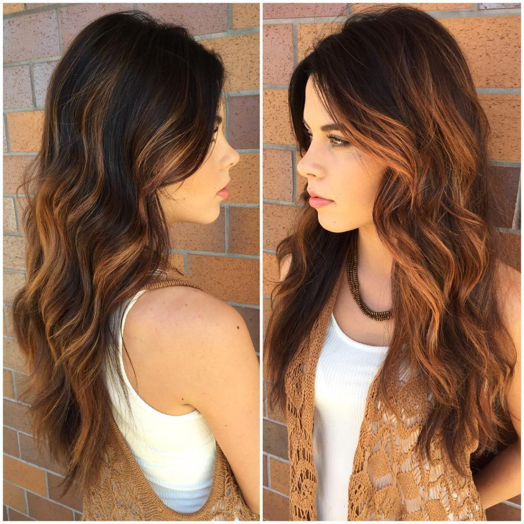 Favorite Layered And Tousled Brunette Hairstyles With Brunette Layered Cut With Tousled Waves And Warm Caramel (View 5 of 20)